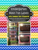 Kindergarten Math Tub Labels (with Common Core) - Chevron