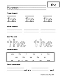 Kindergarten Sight Word Pages