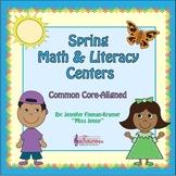 Kindergarten Spring FREEBIE + Math & Literacy Centers / Co