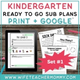 Kindergarten Sub Plans Ready To Go for Substitute. No Prep