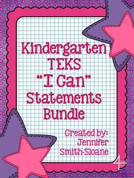 "Kindergarten TEKS ""I Can"" Statements Bundle- All 4 Core Subjects"