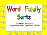 Kindergarten Word Family Sorts- Word Work Independent Practice