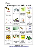 Kindergarten skill card