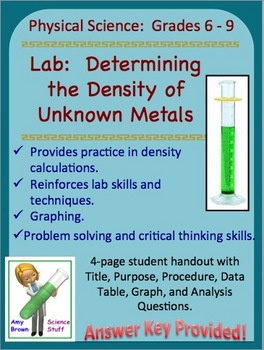 Lab:  Determining the Density of Unknown Metals (Grades 7-10)
