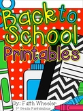 Language Arts - Back to School Printables