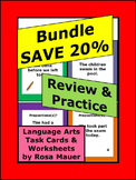 Language Arts Bundle Review and Practice Task Cards & Worksheets
