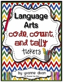 {Parts of Speech} Language Arts Code, Count, and Tally Tickets