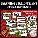 Learning Station Signs- Wild Jungle Theme