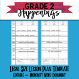 Legal Size Lesson Plan Template