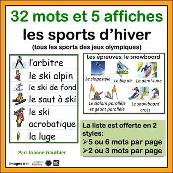 Les sports - French Vocabulary Word Wall of Sports (winter