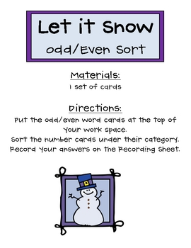 Let it Snow Odd/Even Sort