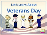 Let's Learn About Veterans Day PowerPoint Lesson w/Workshe