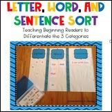 Letter, Word, & Sentence Sort