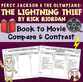 The Lightning Thief book to movie comparison activity with KEY