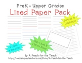 Lined Paper- Multiage - With line size, color, orientation