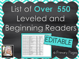 *EDITABLE* List of Leveled Books for Early and Beginning Readers