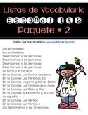Lista de Vocabulario Espanol 1 y 2: Paquete # 2