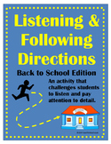 Listening & Following Directions Back To School Edition +R