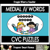 """Literacy Center--Medial /i/ Words CVC Puzzles """"Puzzle Party"""""""