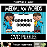 """Literacy Center--Medial /o/ Words CVC Puzzles """"Puzzle Party"""""""
