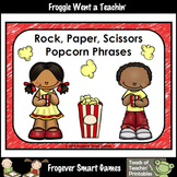 Literacy Center-Rock Paper Scissors Popcorn Phrases and Po