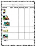 K-2 Literacy Center Student Activity Checklist (Spanish)
