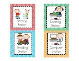 Literacy Work Station or Center Pocket Chart Labels AND Ma