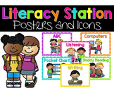 Literacy Stations Posters and Icons {Bright Polka Dots}