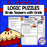 Logic Puzzles - Set of 5 Brain Teaser Puzzles with Grids