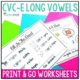 Long Vowel Silent E CVCe Worksheets { Print and Go }