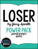 Loser by Jerry Spinelli Power Pack:  30 Journal Prompts an