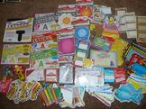 Lot of Bulletin Board Cutouts, Letters, rewards, Cursive d