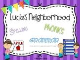Lucia's Neighborhood {spelling, grammar, and phonics practice}