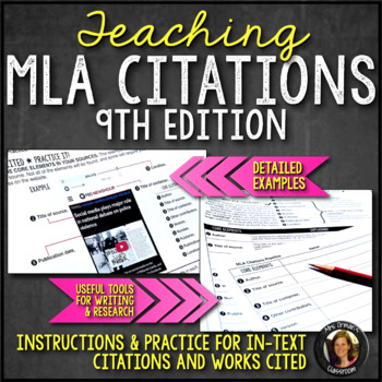MLA Format Citations, Instructions, Practice, & Examples