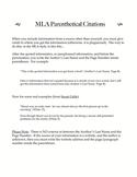 MLA Parenthetical Citations Handout