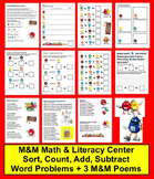 M&M Math & Literacy Center Activities - Sort, Count, Add,