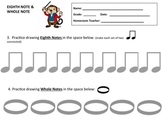 MUSIC WORKSHEET- DRAWNG EIGHTH NOTES & WHOLE NOTES- GREAT