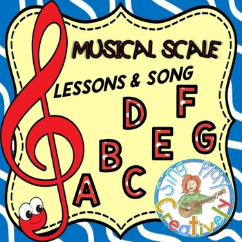 MUSICAL SCALE & TREBLE CLEF STAFF NOTES *LESSONS *GAMES *S