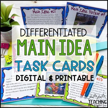 Main Idea Task Cards Activity { 52 Picture & Text Cards } Differentiated