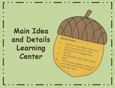 Main Idea and Details Center - fall tree theme