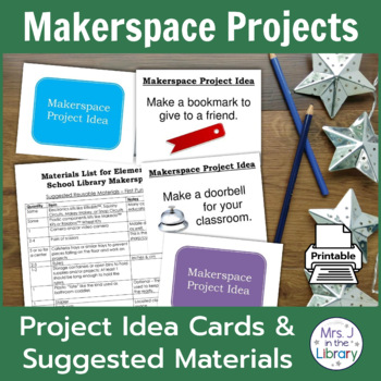 Cover image of Makerspace Project Prompt Task Cards and Suggested Materials List | A Wrinkle in Tech by Mrs. J in the Library