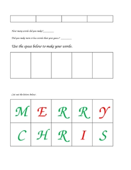 Making Words From Merry Christmas