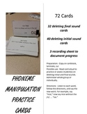 Manipulating Phonemes Practice Cards; Deleting Initial and