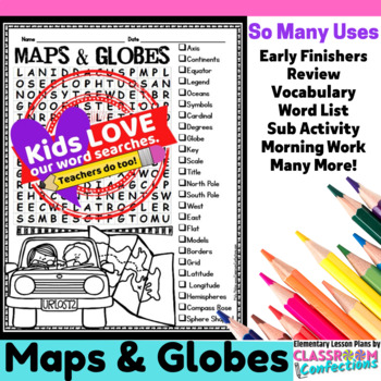Maps and Globes Word Search