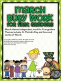 March Busy Work Pack for First Graders