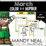 March Color By Number for 3rd Grade Math