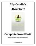 Matched, Condie, Lesson plan unit, Popular YA Novel, 129 pages.