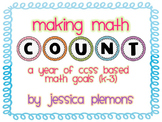 "Math ""COUNT"" Bulletin Board Headers and Goal Cards K-3 with CCSS"