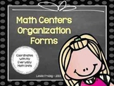Math Centers Organization Forms