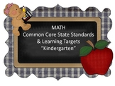 "Math Common Core Standards & ""I CAN.."" Cards-Kindergarten"